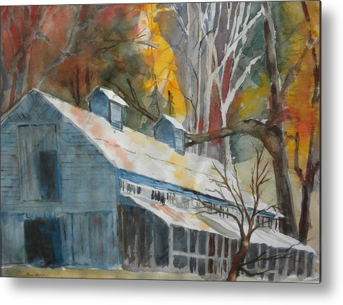 Landscape Metal Print featuring the painting Rockbrook Camp Barn by Kris Dixon