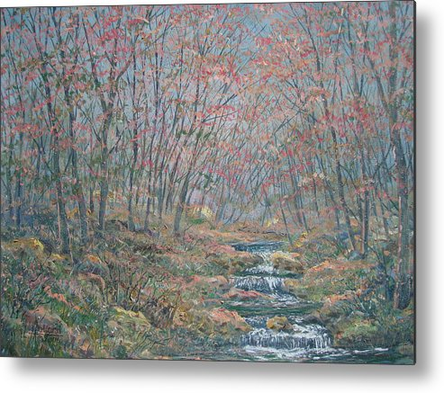 Painting Metal Print featuring the painting Rocky Forest. by Leonard Holland