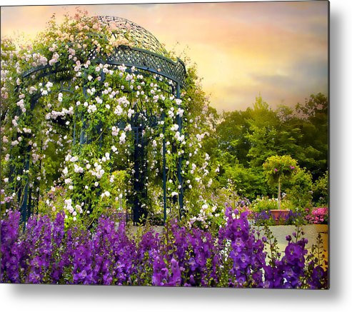 Garden Metal Print featuring the photograph Rose Arbor At Sunset by Jessica Jenney