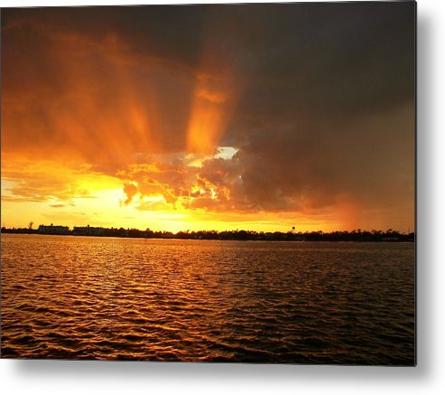 Sunset Background Metal Print featuring the photograph Rosey Fingered And Wet   Sunset by Charles Peck