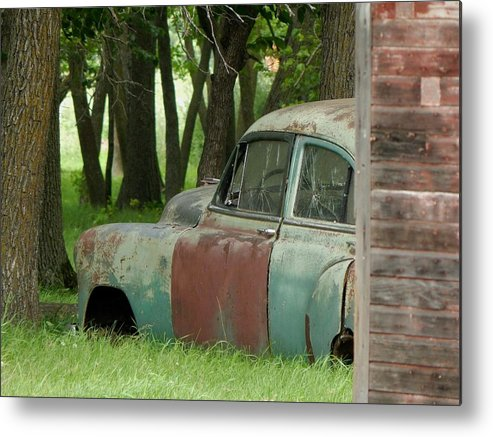 Car Metal Print featuring the photograph Rustmobile And Shack by Curtis Tilleraas