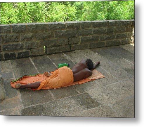 Arunachala Metal Print featuring the photograph Sadhu Sleeping On Arunachala India by Sonya Ki Tomlinson