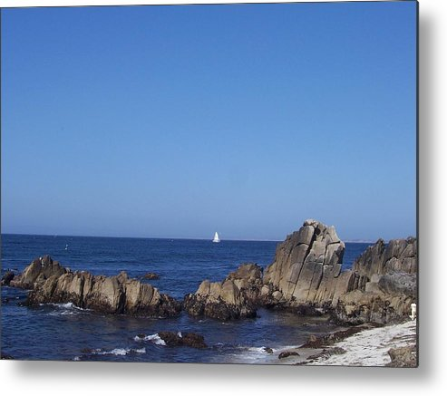 Ocean Metal Print featuring the photograph Sailboat In The Bay by Dawn Marie Black