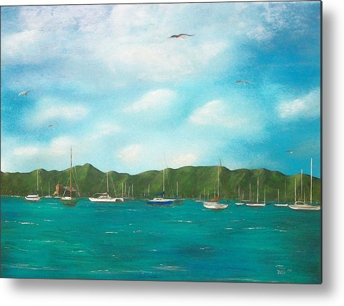 Seascapes Metal Print featuring the painting Sailboats In Harbor by Tony Rodriguez