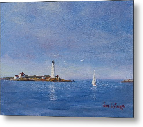 Seascape Metal Print featuring the painting Sailing To Boston Light by Laura Lee Zanghetti