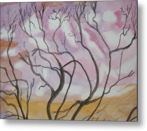 Landscape Watercolor Trees Metal Print featuring the painting Sailor's Sky by Warren Thompson
