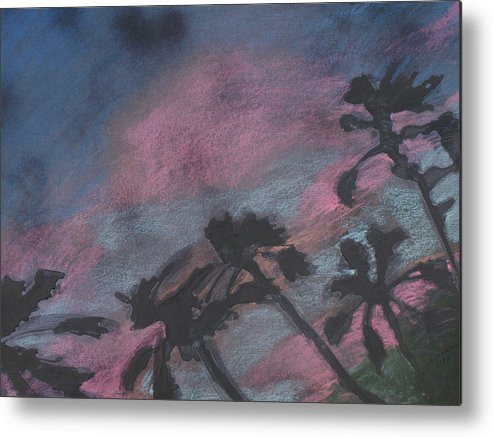 Contemporary Tree Landscapes Metal Print featuring the drawing San Diego Palms by Leah Tomaino