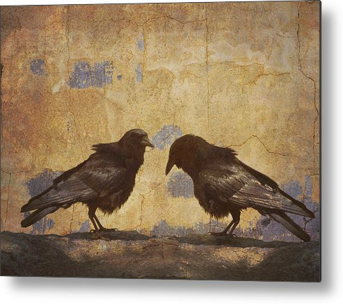 Crow Metal Print featuring the photograph Santa Fe Crows by Carol Leigh