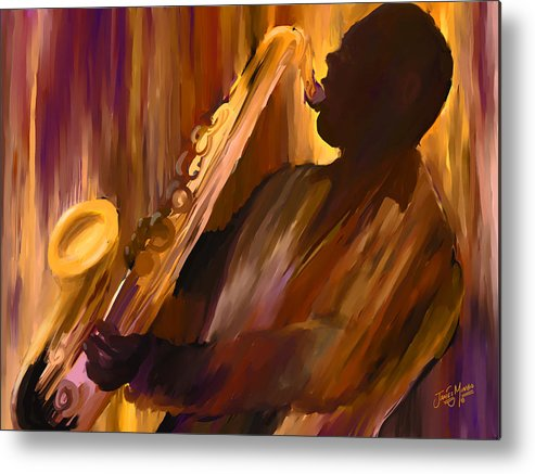 Sax Metal Print featuring the painting Sax And Soul by James Mingo