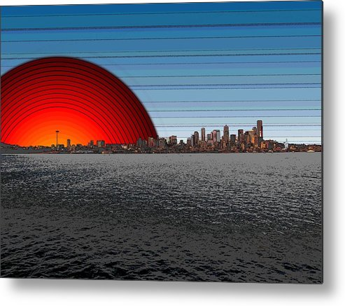Seattle Metal Print featuring the digital art Seattle Dawning 2 by Tim Allen