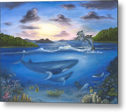 Landscape Metal Print featuring the painting Seaworld by Anne Kushnick