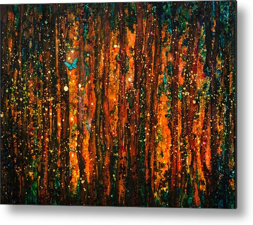 Abstract Metal Print featuring the painting Seeking Enchantment by Sandy Sandy