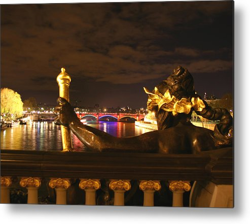 Pont Alexandre Iii Metal Print featuring the photograph Seine By Night by Hans Jankowski