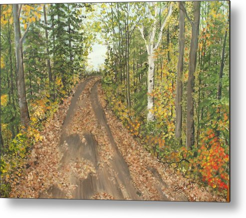 Trees Metal Print featuring the painting September by Bev Neely