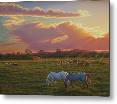 Southwest Metal Print featuring the painting September Sunset In Taos by Johanna Girard