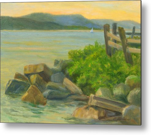 Landscape Metal Print featuring the painting Serenity On The Hudson by Phyllis Tarlow