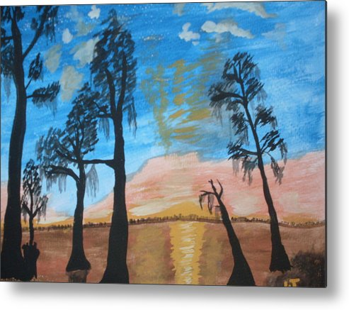 Acrylic Sunset Lake Trees Metal Print featuring the painting Serenity by Warren Thompson