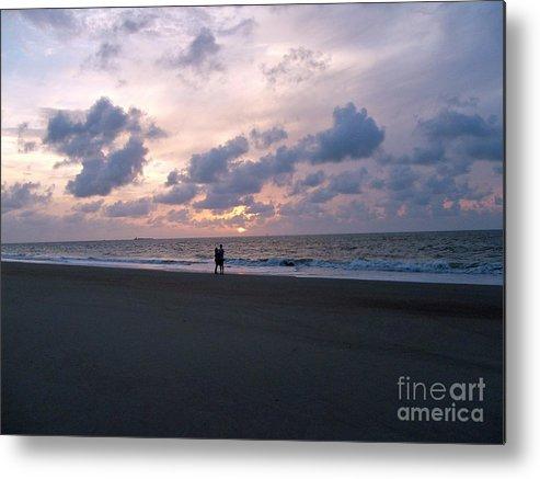 Beach Metal Print featuring the photograph Sharing The Beach At Sunrise by Doris Blessington