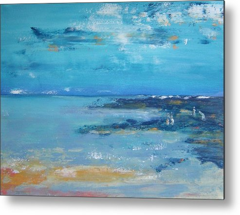 Seascape Metal Print featuring the painting Shell Collectors by Bridgette Allan