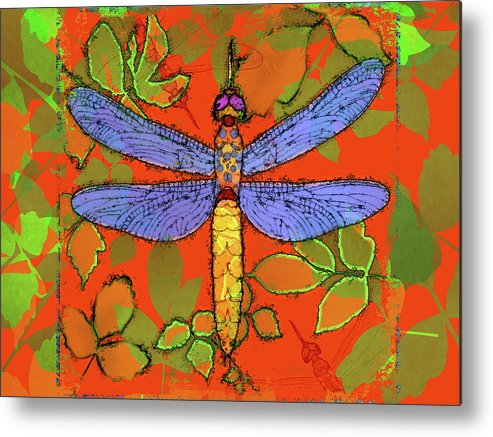 Dragonfly Metal Print featuring the digital art Shining Dragonfly by Mary Ogle