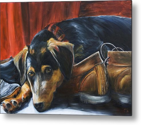 Dog Metal Print featuring the painting Shoe Dog by Nik Helbig
