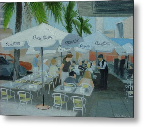 Sidewalk Cafe Metal Print featuring the painting Sidewalk Cafe Study by Robert Rohrich
