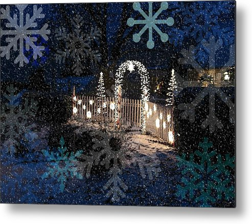 Holiday Card Metal Print featuring the digital art Silent Night Snow by Blake Baines