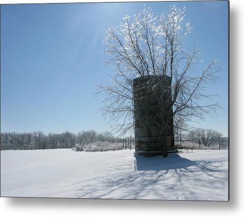 Sun Metal Print featuring the photograph Silo In The Snow by Martie DAndrea