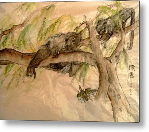 Monkey Metal Print featuring the painting Simian And Beetle by Debbi Saccomanno Chan
