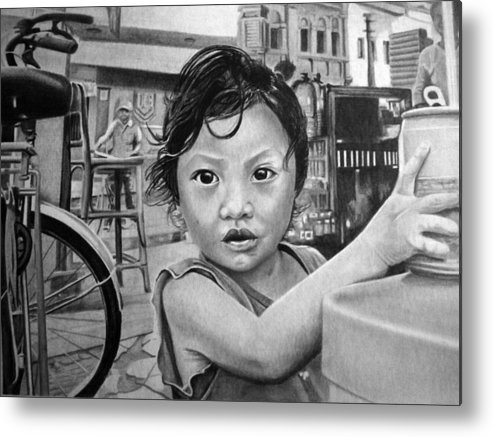 Girl Metal Print featuring the drawing Sioukin by Felipe Galindo