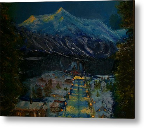 Winter Metal Print featuring the painting Ski Resort by Stephen King