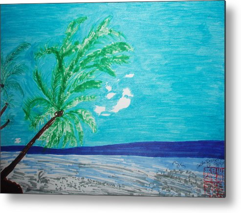 Palm Trees Metal Print featuring the painting Sky Blue Palm Tree Beach by Golden Dragon