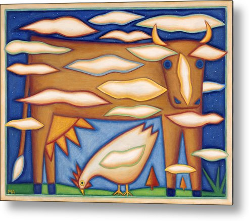 Whimsical Metal Print featuring the painting Sky Cow by Mary Anne Nagy