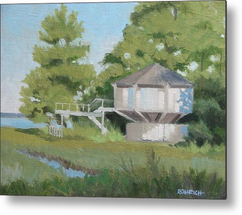 Elevated House Metal Print featuring the painting Sky Loft House by Robert Rohrich
