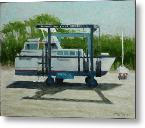 Boats Metal Print featuring the painting Slow Boat by Robert Rohrich