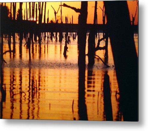 Water Metal Print featuring the pyrography Slue Sunset by Myrna Salaun