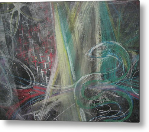 Chalk Metal Print featuring the photograph Snake With Crosses by Stephen Hawks