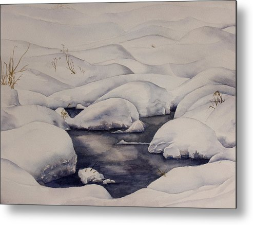 Snow Metal Print featuring the painting Snow Pool by Debbie Homewood