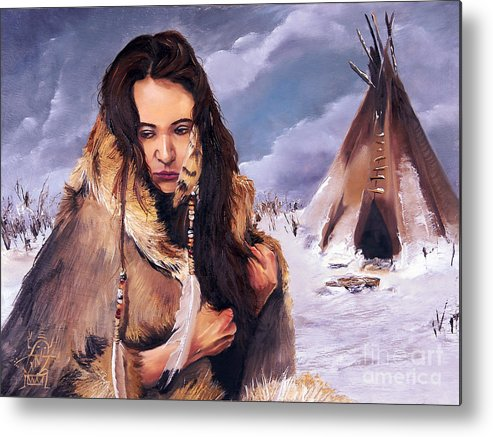 Southwest Art Metal Print featuring the painting Solitude by J W Baker