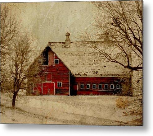Red Metal Print featuring the digital art South Dakota Barn by Julie Hamilton