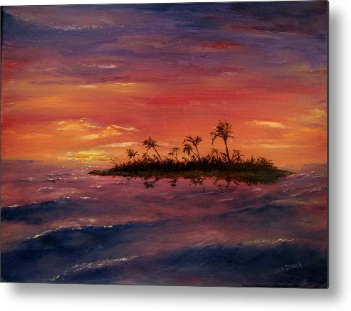 Sunset Metal Print featuring the painting South Pacific Atoll by Jack Skinner