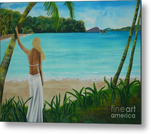 Tropical Metal Print featuring the painting South Pacific Dreamin by Kris Crollard
