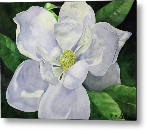 Magnolia Metal Print featuring the painting Southern Belle by Lorraine Ulen