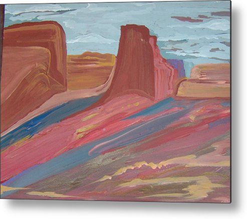 A Colorful Painting Of Red Rock Vista In The Southwest Metal Print featuring the painting Southwest Granduer by Judy Dow