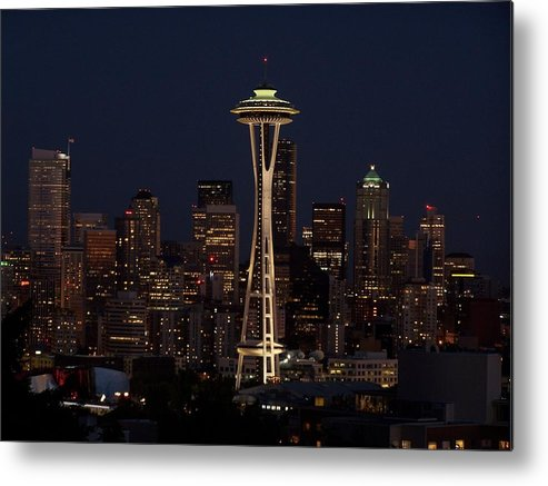 Night Cityscape Metal Print featuring the photograph Space Needle Night by Gene Ritchhart