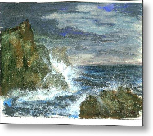 Ocean Metal Print featuring the painting Splashes Of Ocean Waves by Rhonda Myers