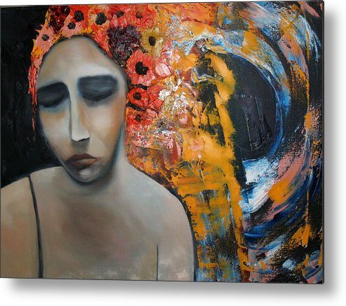 Girl Metal Print featuring the painting Split Sadness by Niki Sands
