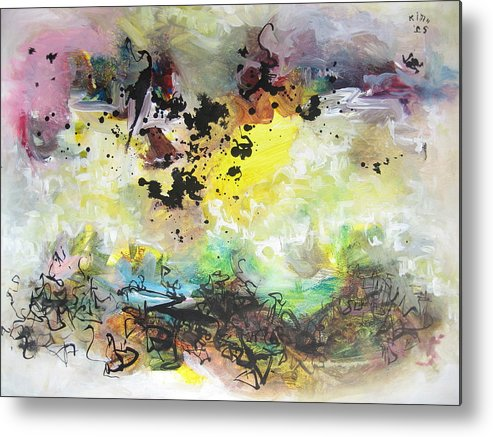 Yellow Purple Paintings Metal Print featuring the painting Spring Fever19 by Seon-Jeong Kim