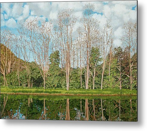 Landscape Metal Print featuring the painting Spring Pond Reflection by Allan OMarra