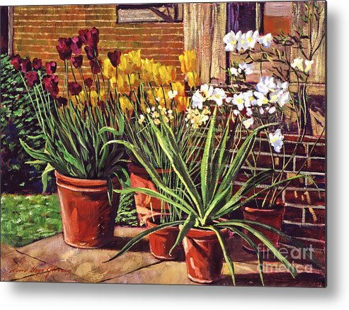 Patio Metal Print featuring the painting Spring Tulips And White Azaleas by David Lloyd Glover